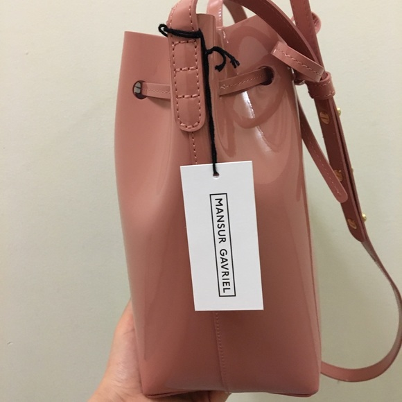 NEW Mansur Gavriel Mini Bucket patent bag- blush